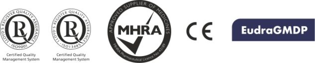 We comply to medical and Pharmaceutical standards and Licensing, we operate our business to ISO assurance system certification. we have acceptance in the in the Eudra database, Our products re CE marked for the European Market and we are licensed by the MHRA